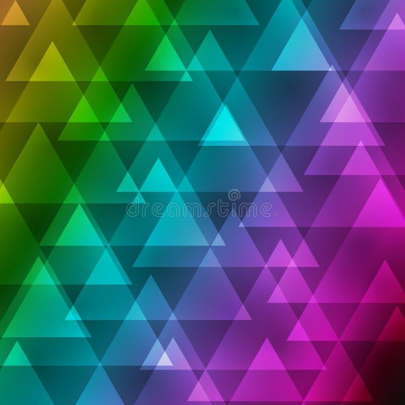 Färgar abstrakt ojämn polygonbakgrund för vektorn med en triangulär modell i fullt regnbågespektrum för färg royaltyfri illustrationer