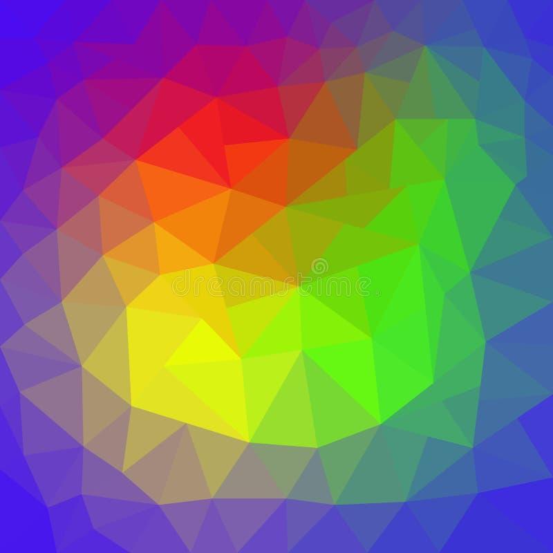 Färgar abstrakt ojämn polygonbakgrund för vektorn med en triangulär modell i regnbågespektrum stock illustrationer