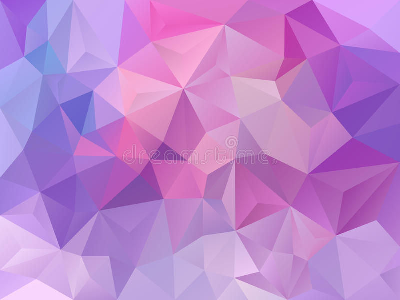Färgar abstrakt polygonbakgrund för vektorn med en triangelmodell i violetta lilor för pastellfärgade rosa färger stock illustrationer