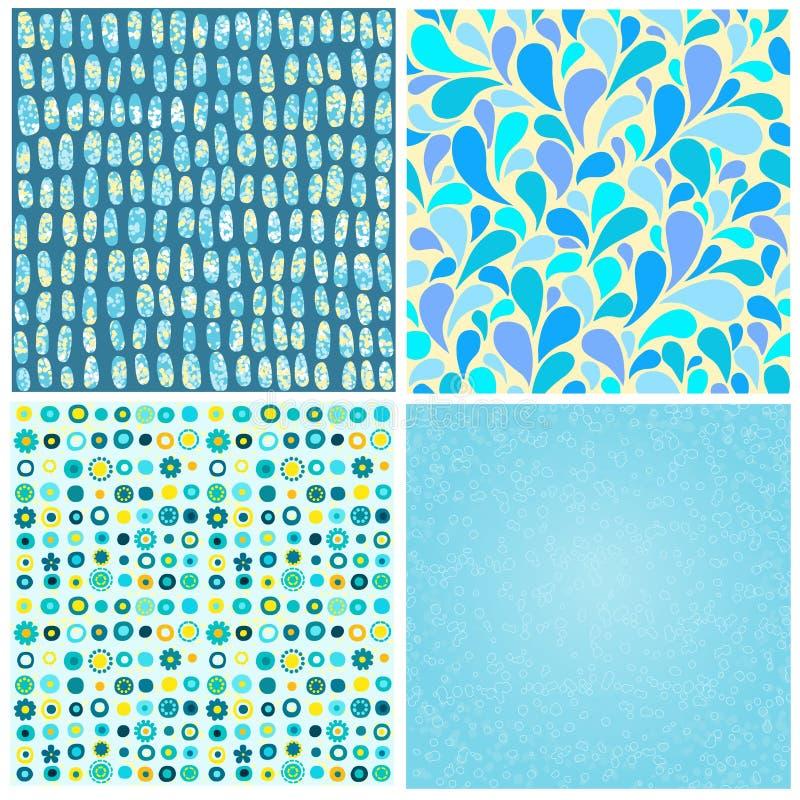 Färgar abstrakta sömlösa bakgrunder för uppsättning fyra av blått vektor illustrationer
