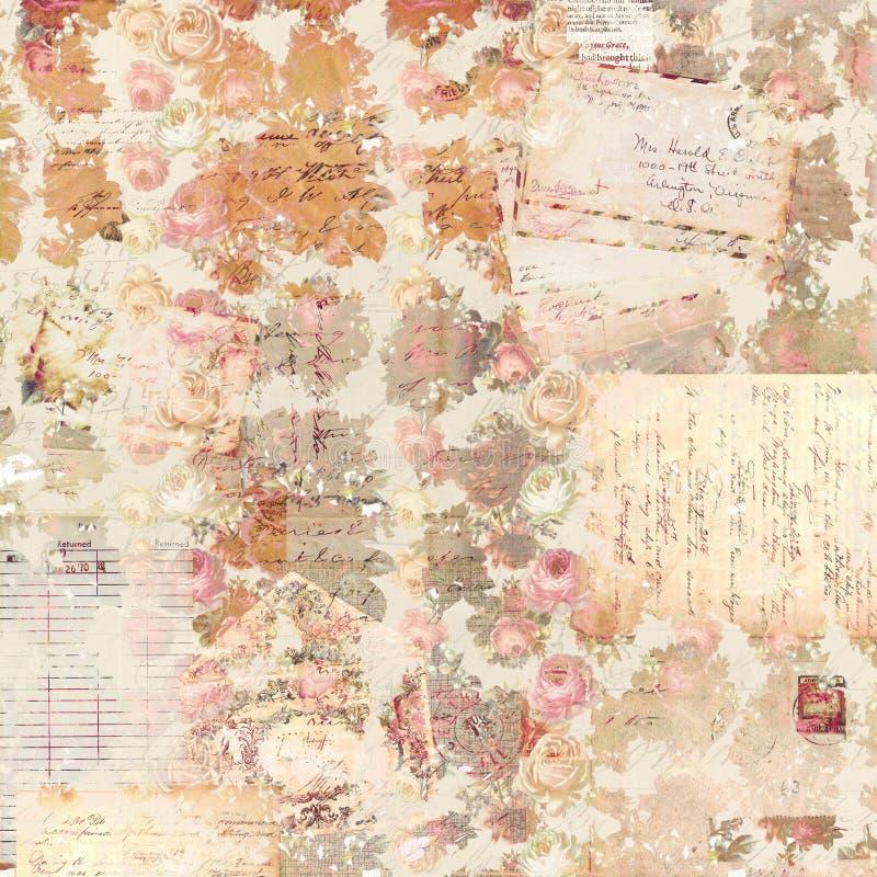 Färgar antika mönstrad bakgrund för tappning rosor i lantlig nedgång royaltyfri illustrationer