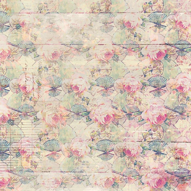 Färgar antika mönstrad bakgrund för tappning rosor i rosa färg- och gräsplanvår stock illustrationer