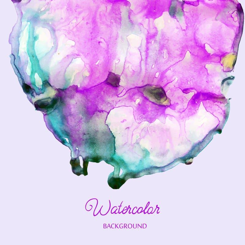 Färgar den abstrakta handen dragen vattenfärgbakgrund, illustrationen, fläckvattenfärger på vått papper royaltyfri illustrationer