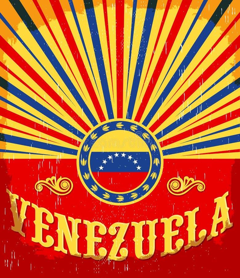 Färgar den gamla affischen för Venezuela tappning med den venezuelan flaggan vektor illustrationer