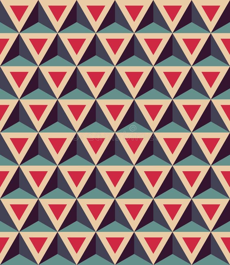 Färgar den moderna sömlösa färgrika geometrimodellen för vektorn, trianglar 3D, röda blått, abstrakt begrepp vektor illustrationer