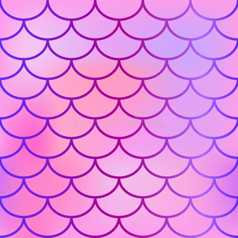 Färgar den sömlösa modellen för fiskhud med rosa färger lutning Vektortextur av fiskskalan stock illustrationer