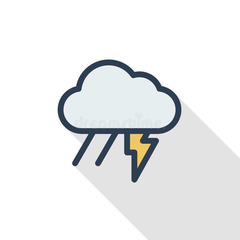 Färgar den tunna linjen lägenhet för blixt, för åskastormen, för regn och för molnet symbolen Linjärt vektorsymbol Färgrik lång s royaltyfri illustrationer