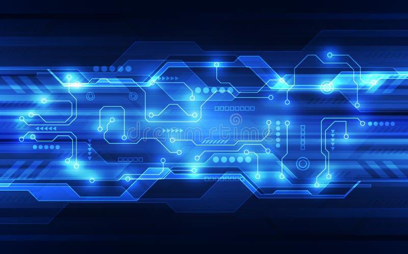 Färgar det abstrakta futuristiska strömkretsbrädet för vektorn, blått för digital teknologi för illustration hög royaltyfri illustrationer