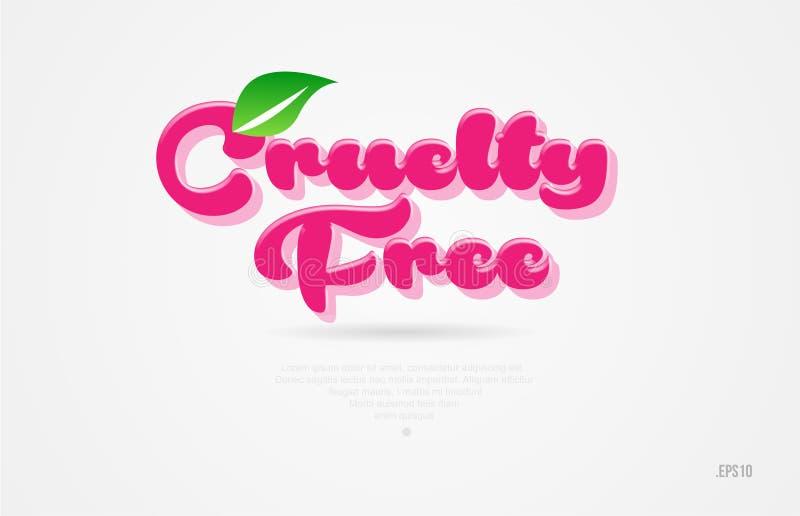 färgar det fria ordet 3d för grymhet med ett grönt blad och rosa färger logo royaltyfri illustrationer