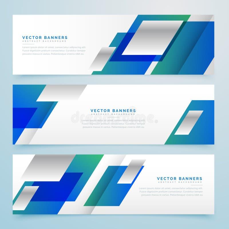 Färgar geometriska baner och titelrader för affärsstil i blått vektor illustrationer