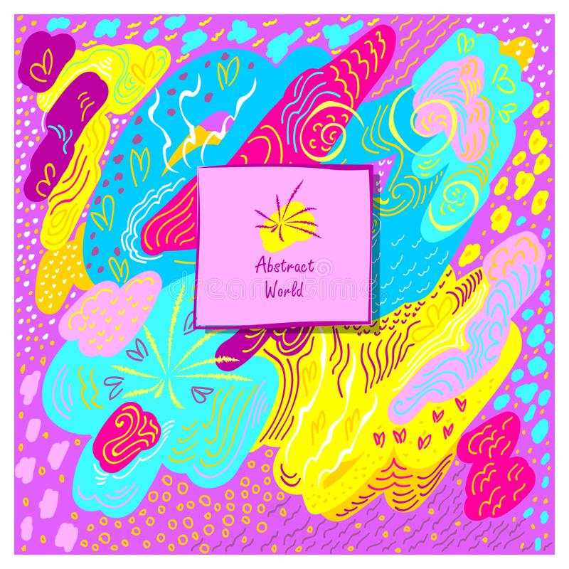 Färgar konstnärlig handgjord abstrakt bakgrund för mallen i rosa färgblåttguling royaltyfri illustrationer