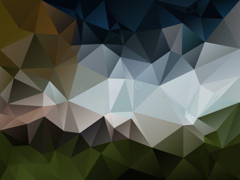 Färgar ojämn polygonbakgrund för vektorn med en triangelmodell i naturlig gräsplan, blått, grå färger och brunt stock illustrationer