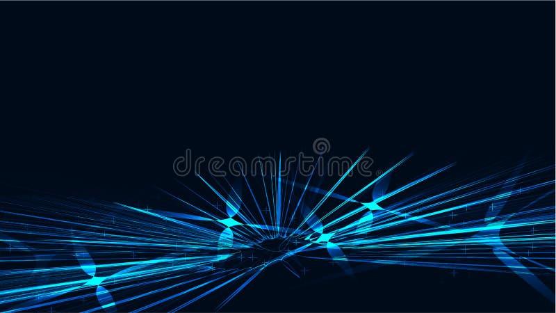 Färgat blått kosmiskt magiskt glödande ljust glänsande neon för textur fodrar abstrakt begrepp spiralvågremsor av trådar av energ royaltyfri illustrationer