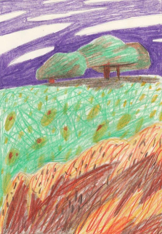 Färgat dra gläntan med träd, stenar och blommor såväl som en purpurfärgad himmel Passande för en affisch, t-skjorta tryck, vykort stock illustrationer