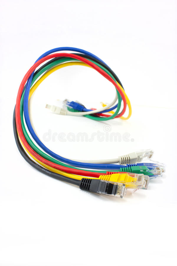 färgat Ethernetnätverk för kablar royaltyfri bild