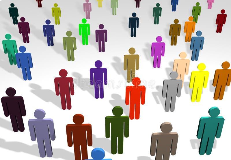 färgat mång- folk vektor illustrationer