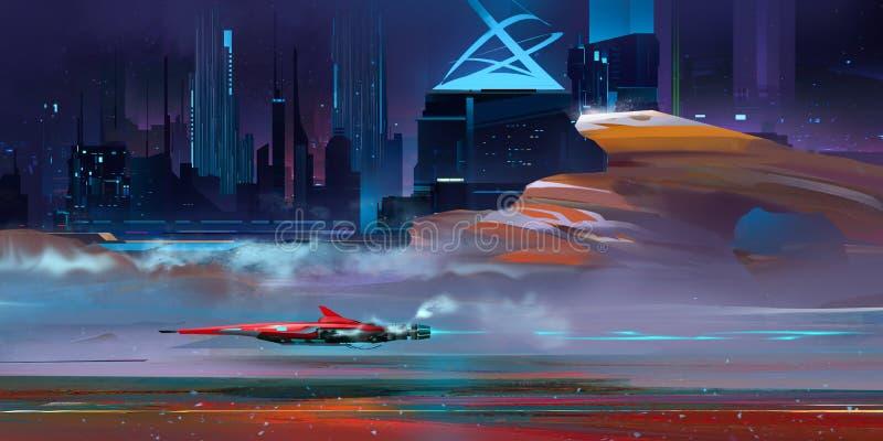 Färgat nightly fantastiskt stads- cyberpunklandskap med berg stock illustrationer