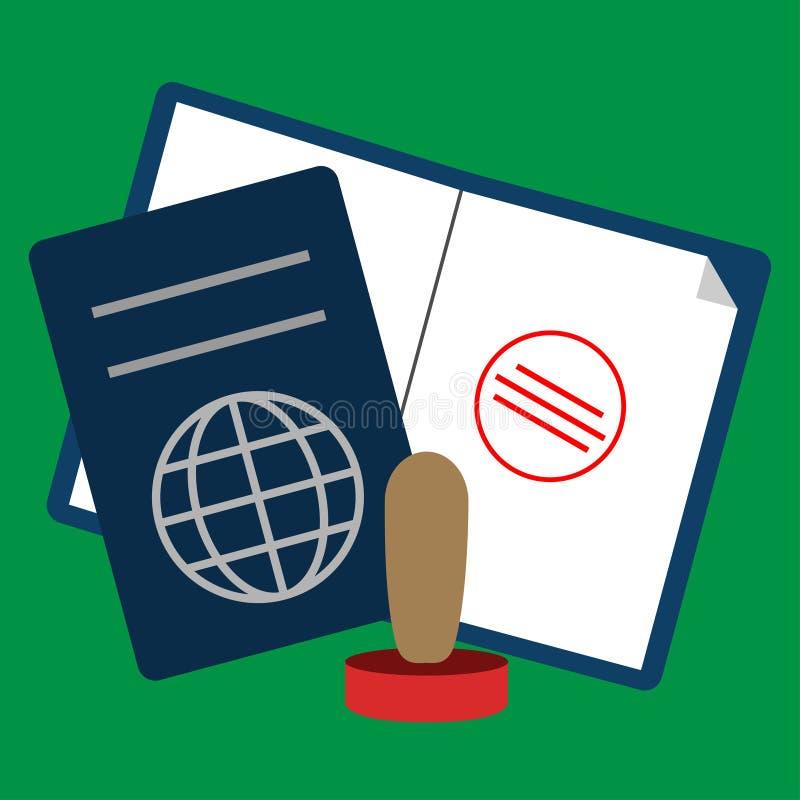 Färgat pass och stämpelsymbol royaltyfri illustrationer