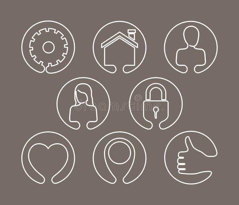 Färgbakgrund av symboler för internet för konturtechaktie i linjär form royaltyfri illustrationer