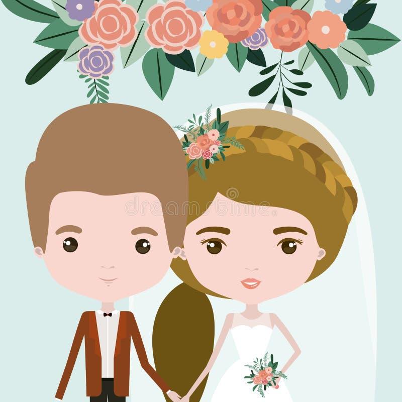 Färgbakgrund med halva kropppar av precis den gifta mannen och kvinnan med hästsvanshår stock illustrationer