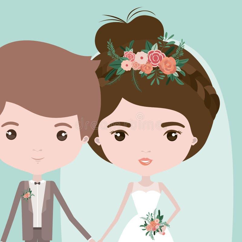 Färgbakgrund med halva kropppar av precis den gifta unga mannen och kvinnan med samlat bullehår stock illustrationer
