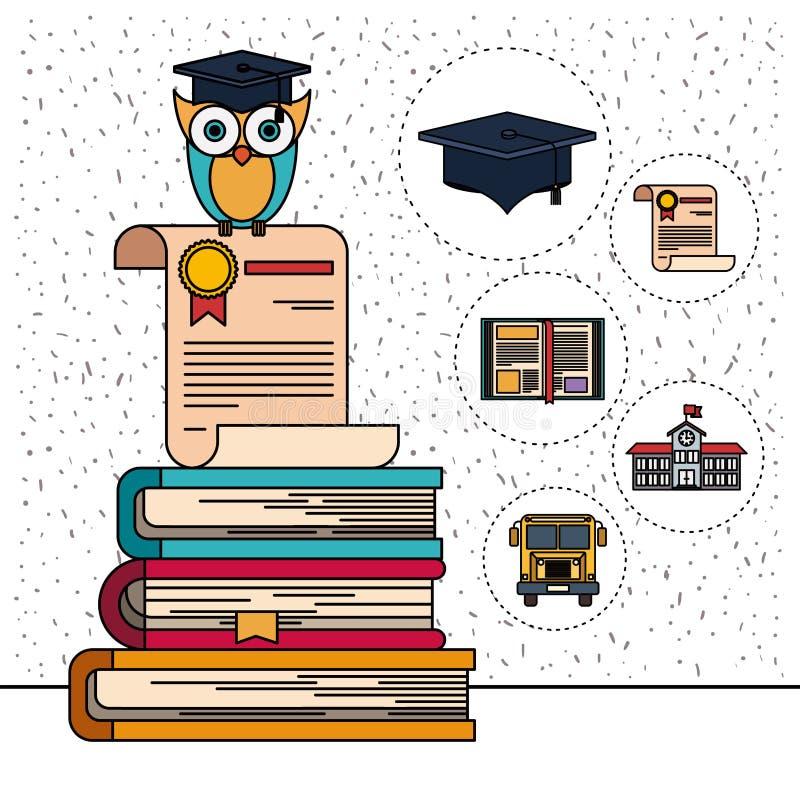 Färgbakgrund med mousserar av uggla på certifikat och bunt av böcker med utbildningsbeståndsdelsymboler royaltyfri illustrationer