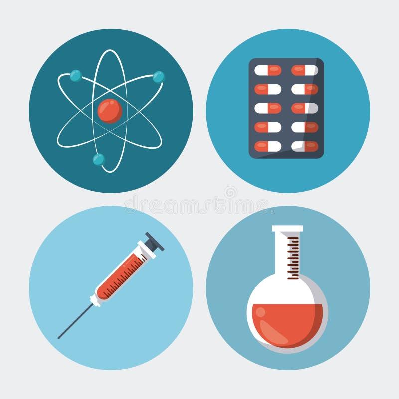 Färgbakgrund med runda ramar med medicinska beståndsdelatompreventivpillerar spolar ren provröret royaltyfri illustrationer