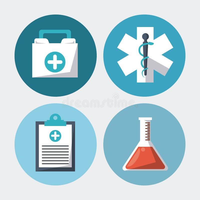 Färgbakgrund med rundaramar med medicinsk forskningbeståndsdelar royaltyfri illustrationer