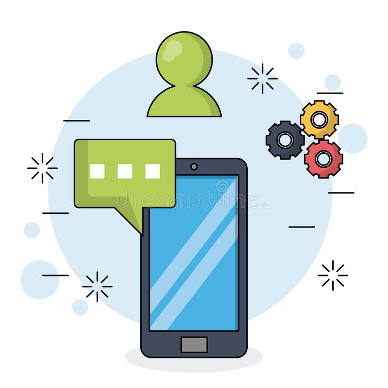 Färgbakgrund med smartphonen och text för dialog i closeup med hjälpmedel och pratstundsymboler stock illustrationer