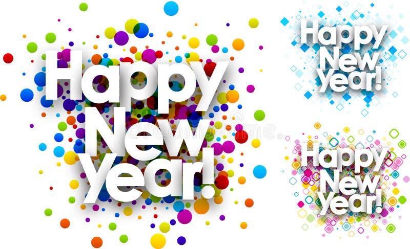 Färgbakgrunder för lyckligt nytt år stock illustrationer