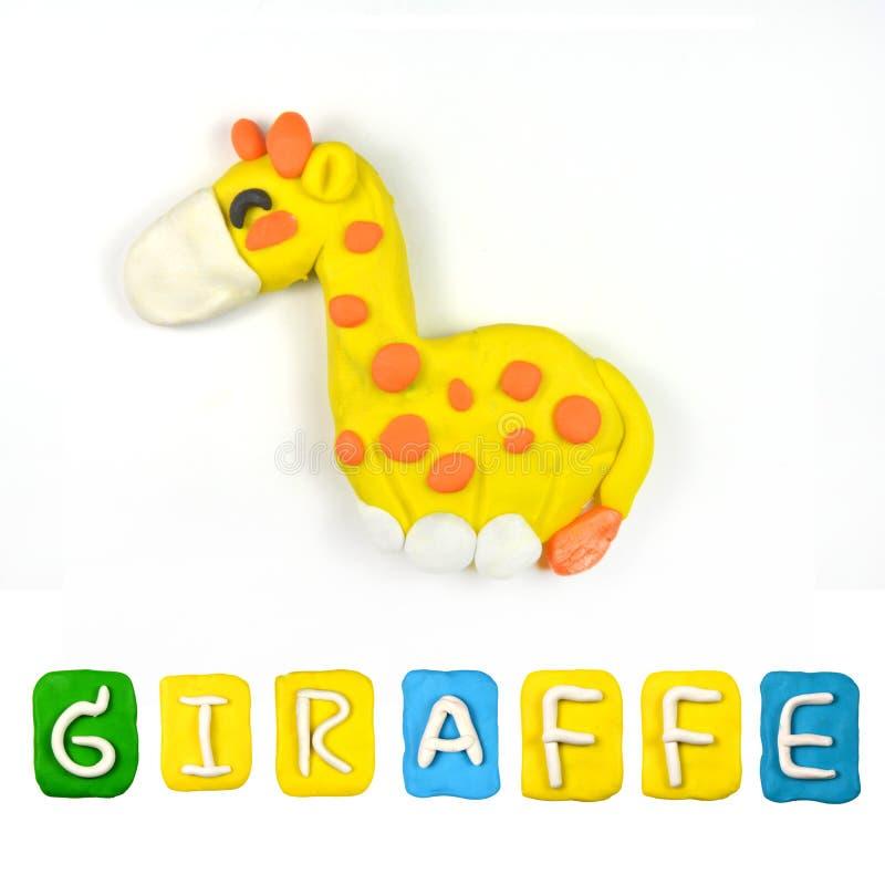 Färgbarns plasticine för giraff royaltyfria bilder