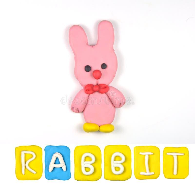 Färgbarns plasticine för kanin arkivbilder