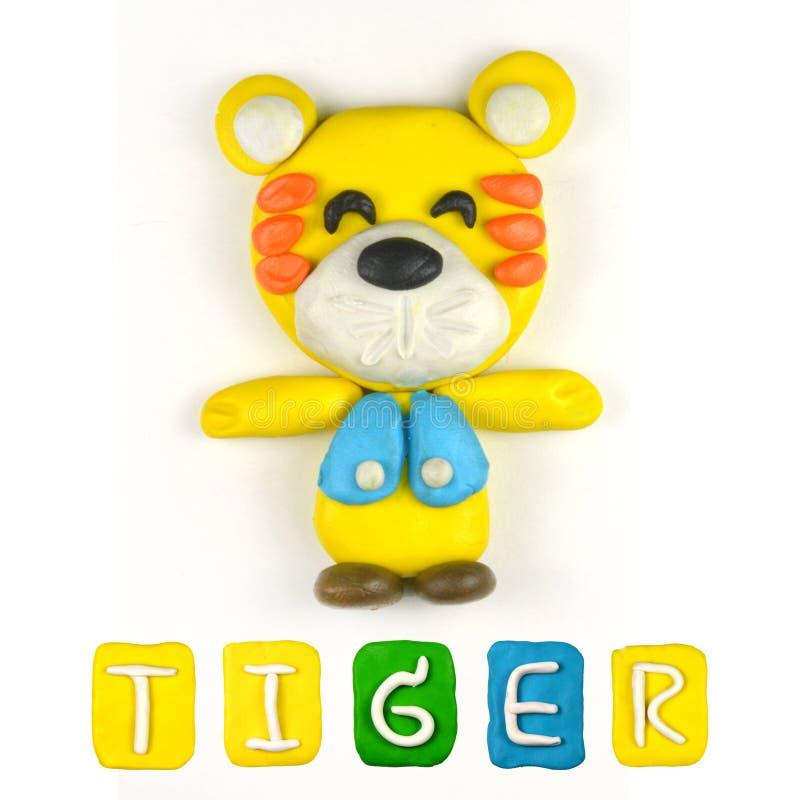 Färgbarns plasticine för tiger royaltyfri bild