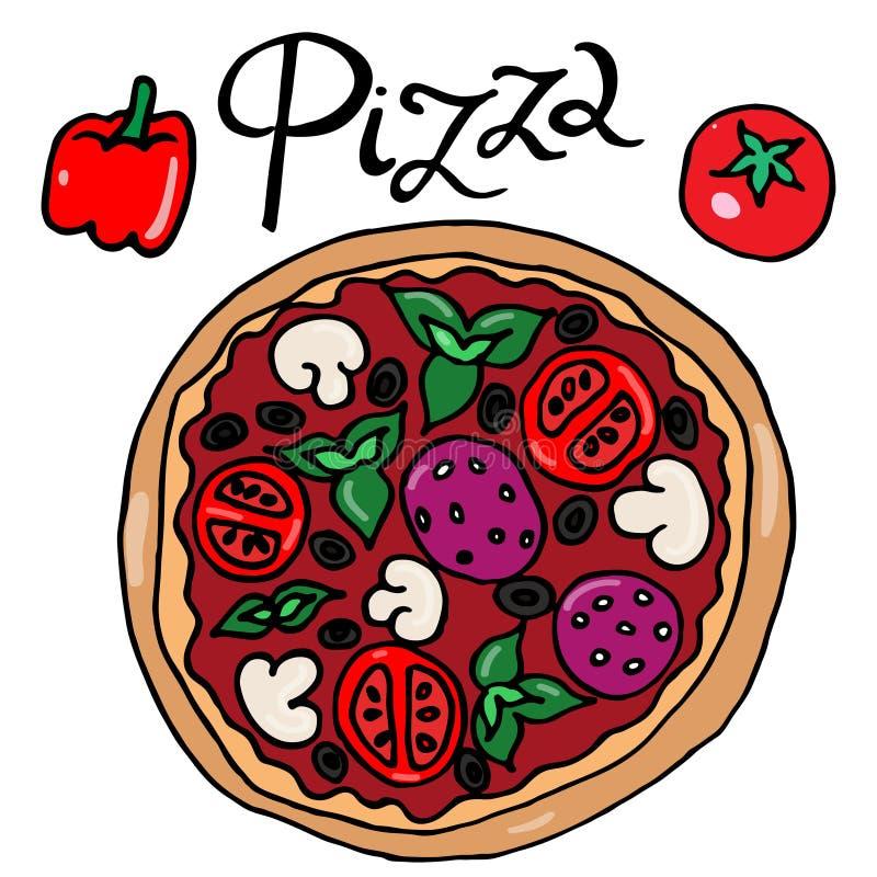 Färgbild av den enkla frihandsdravektorn för pizza stock illustrationer