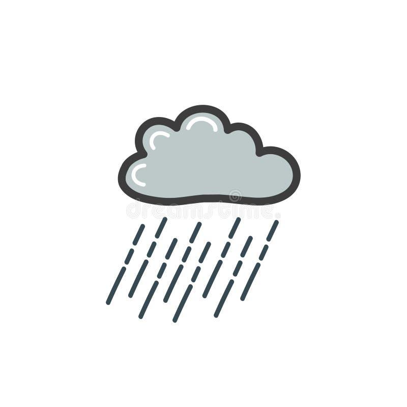 Färgbild av det gråa molnet med hällregn Ett symbol av vädret Vektorteckning vid handen i stilen av ett klotter royaltyfri illustrationer