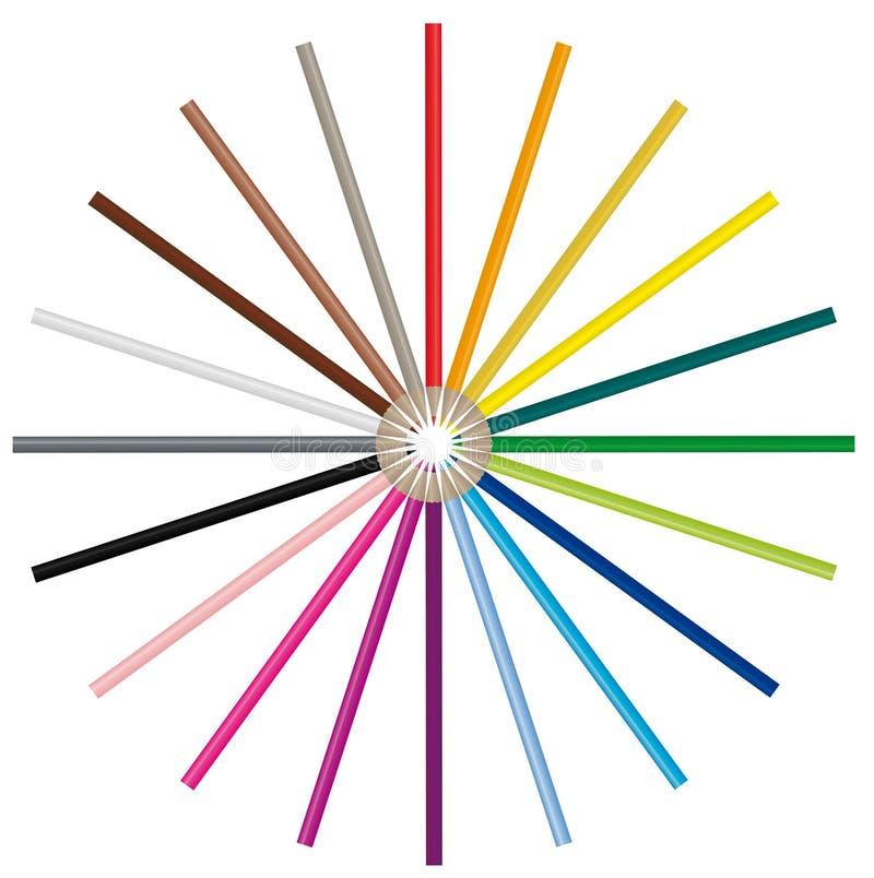 färgbilden pencils vektorn vektor illustrationer
