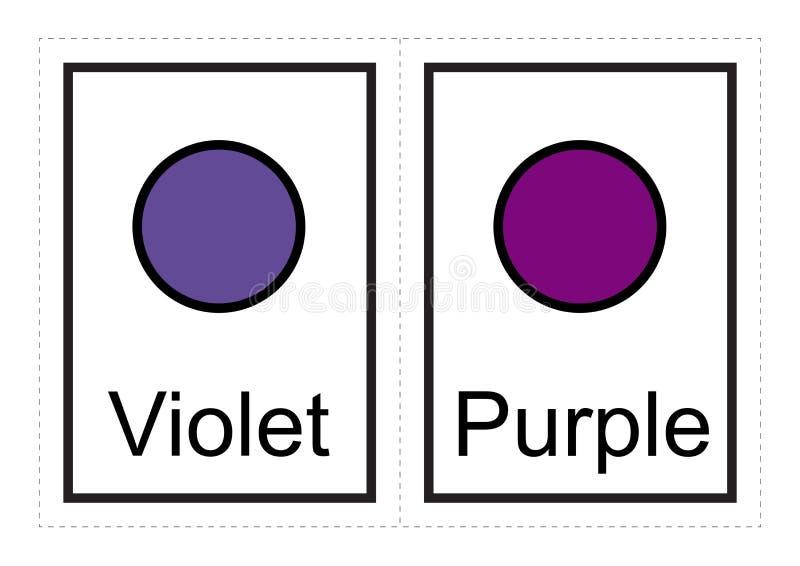 Färgbildkort för ungar lär om färger och deras namn med dessa enkla tryckbart stock illustrationer