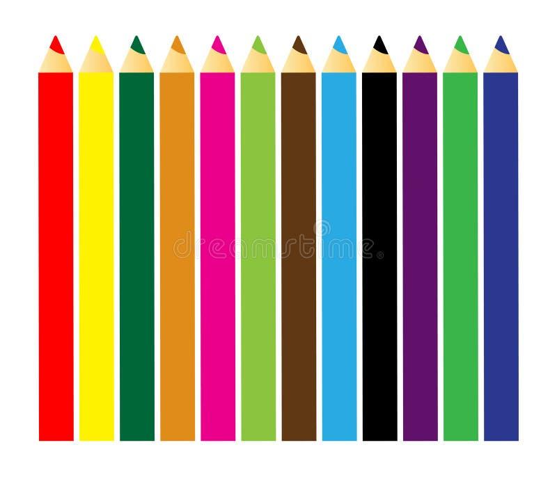 färgblyertspennor vektor illustrationer