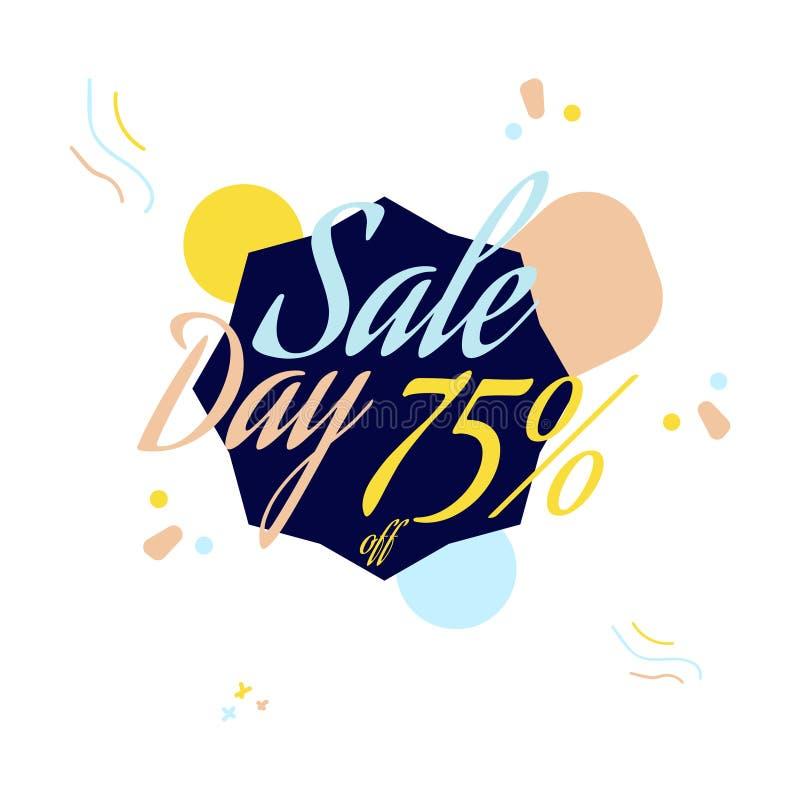Färgbokstäver för erbjudandetecknet för special försäljning, upp till 75 procent av Plan illustration Eps 10 royaltyfri illustrationer