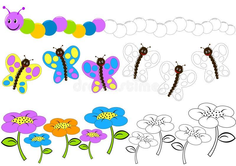 FärgCaterpillar fjäril och blomma vektor illustrationer