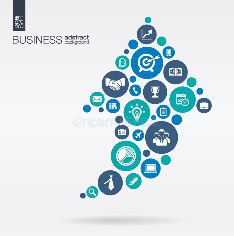 Färgcirklar med plana symboler i en pil upp affären, marknadsföringsforskning, strategi, beskickning, analyticsbegrepp stock illustrationer