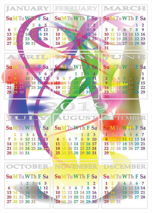 Färgdagar för KALENDER 2019 på DRÖM- DESIGN för MORGON vektor illustrationer