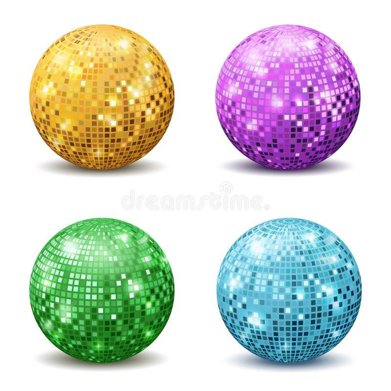 Färgdiskobollar Försilvrar den realistiska avspeglade diskopartiet för reflexionen bollen blänker för strålmirrorball för utrustn vektor illustrationer