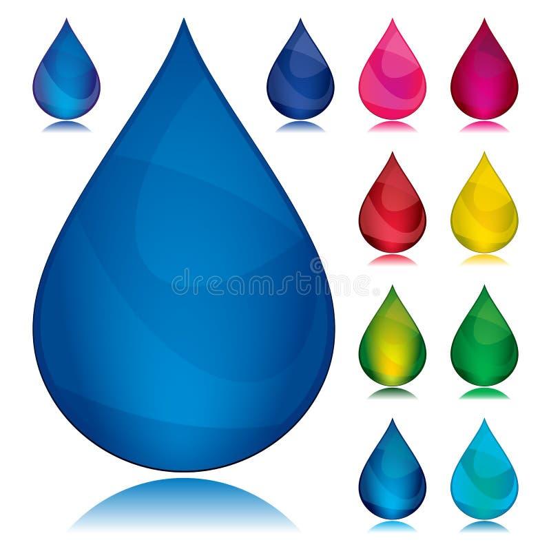 färgdroppset royaltyfri illustrationer