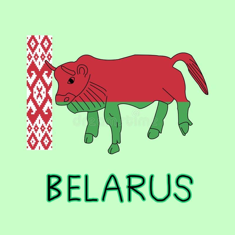 Färgefterföljd av den Vitryssland flaggan med den europeiska bisonen, nationellt djur stock illustrationer
