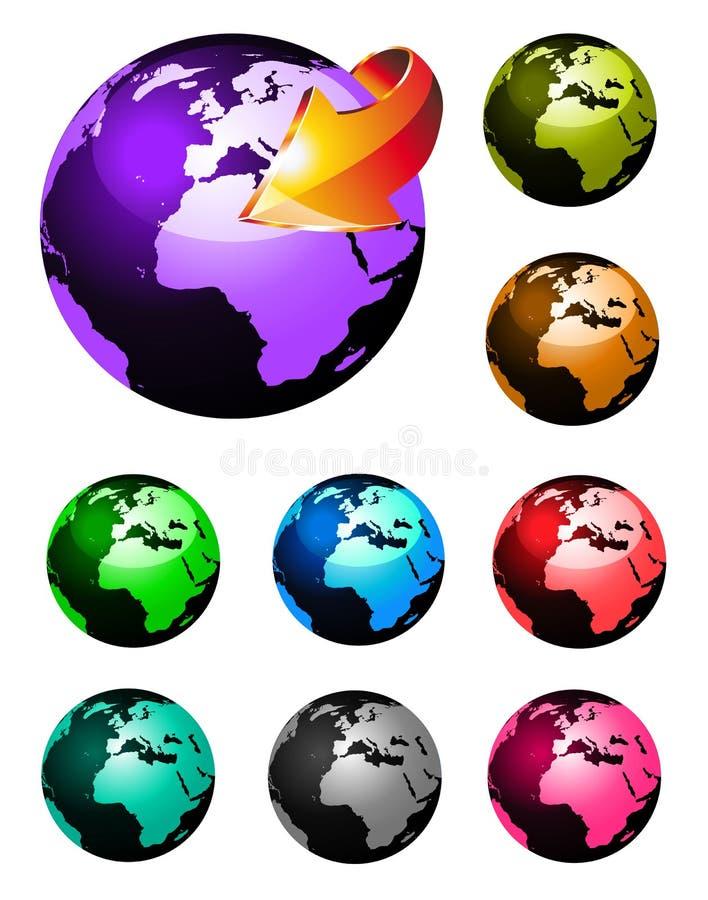 färger 3d jorda en kontakt den glansiga regnbågespheren vektor illustrationer