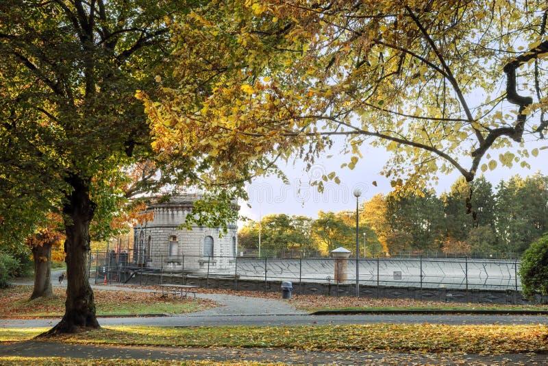 Färger av nedgången på volontären parkerar, Seattle Washington royaltyfria foton