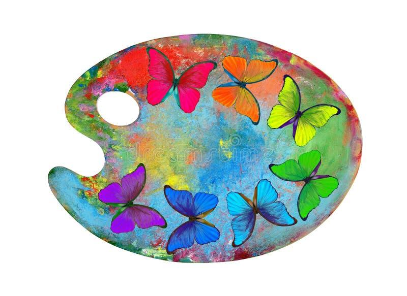 Färger av regnbågen Palett med färgrika målarfärger och morphofjärilar som isoleras på en vit bakgrund Ordet FÄRG på kulöra räkna royaltyfri fotografi