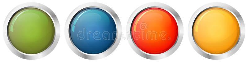 Färger för knappmall fyra royaltyfri illustrationer