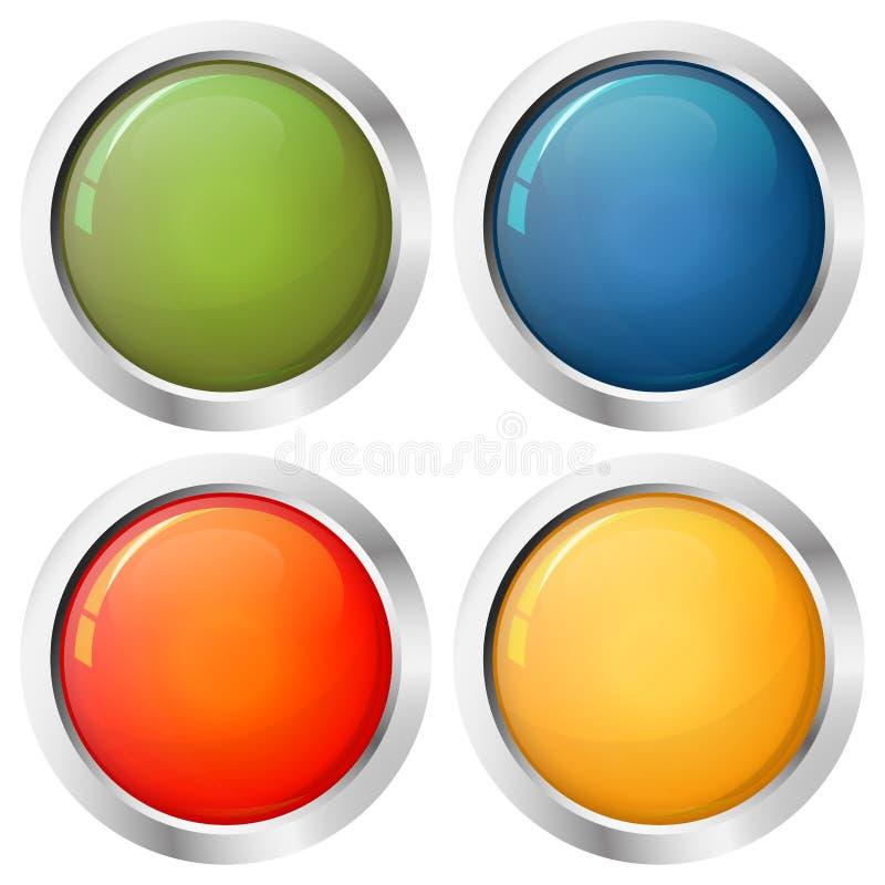 Färger för knappmall fyra stock illustrationer